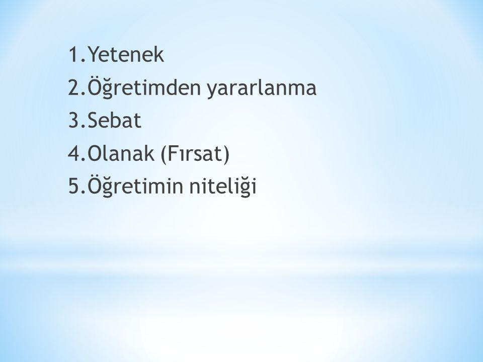 1. Yetenek 2. Öğretimden yararlanma 3. Sebat 4. Olanak (Fırsat) 5