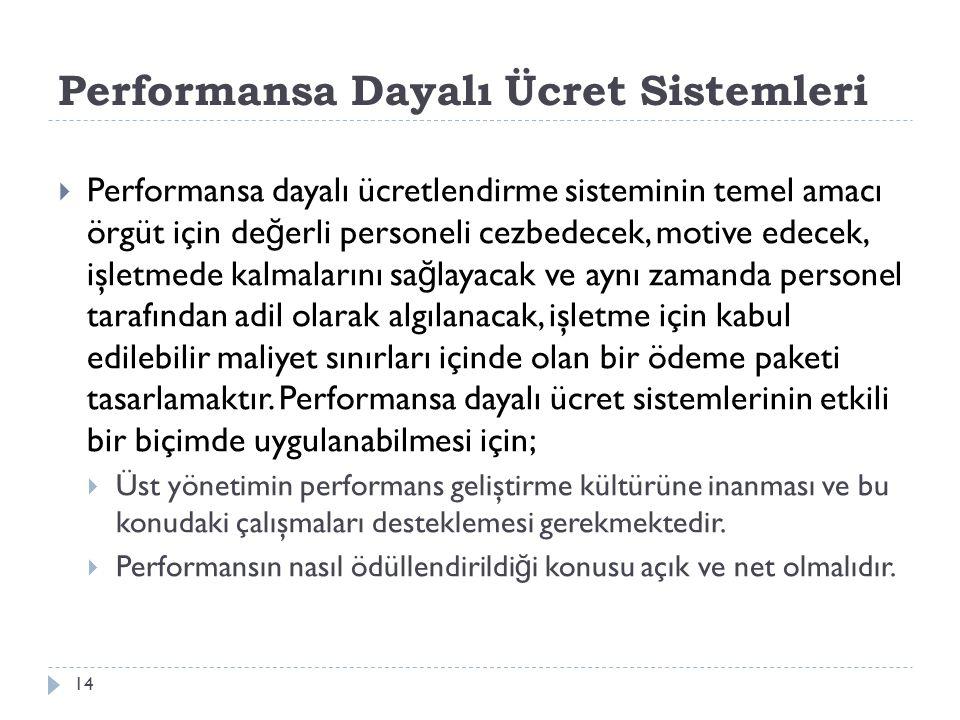 Performansa Dayalı Ücret Sistemleri