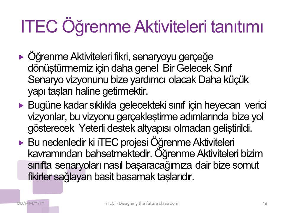 ITEC Öğrenme Aktiviteleri tanıtımı
