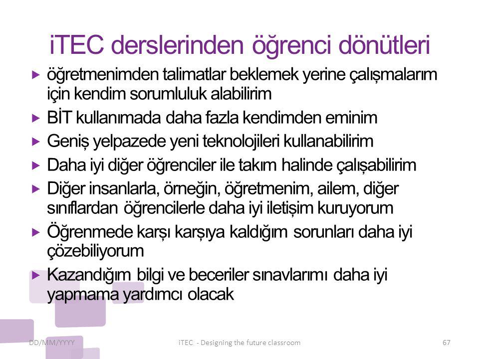 iTEC derslerinden öğrenci dönütleri