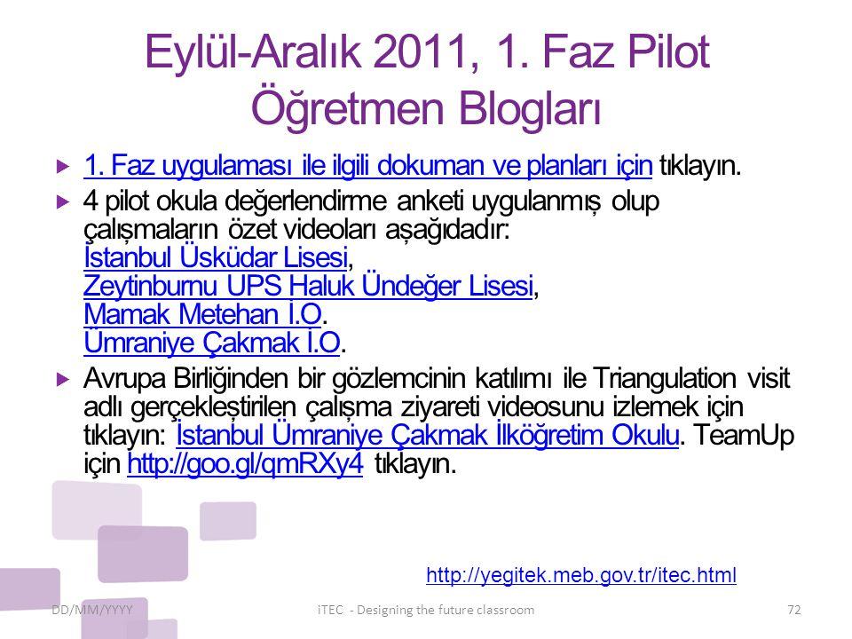 Eylül-Aralık 2011, 1. Faz Pilot Öğretmen Blogları