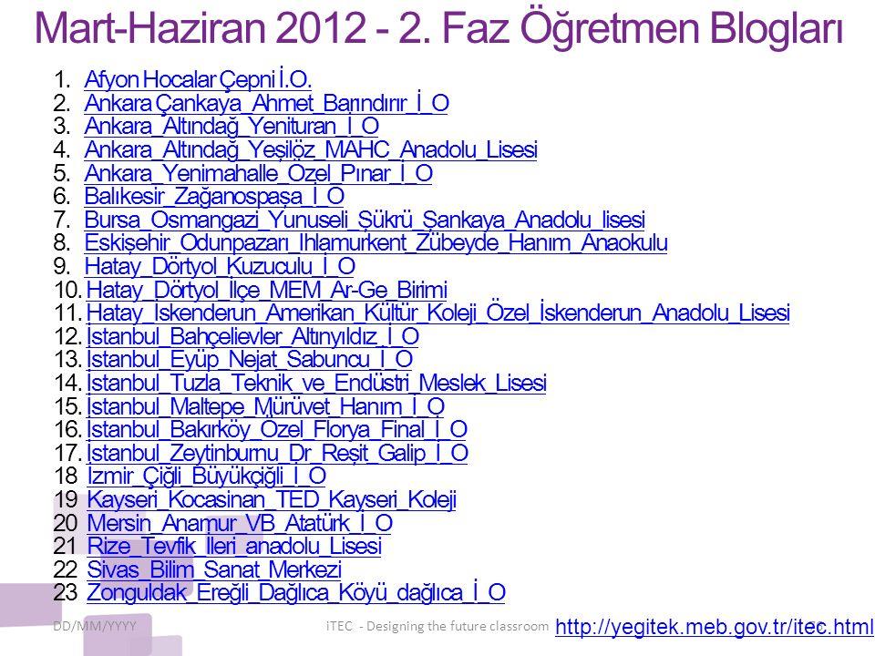 Mart-Haziran 2012 - 2. Faz Öğretmen Blogları