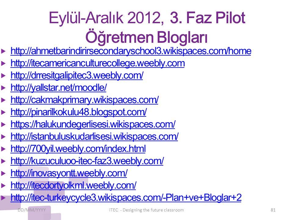 Eylül-Aralık 2012, 3. Faz Pilot Öğretmen Blogları