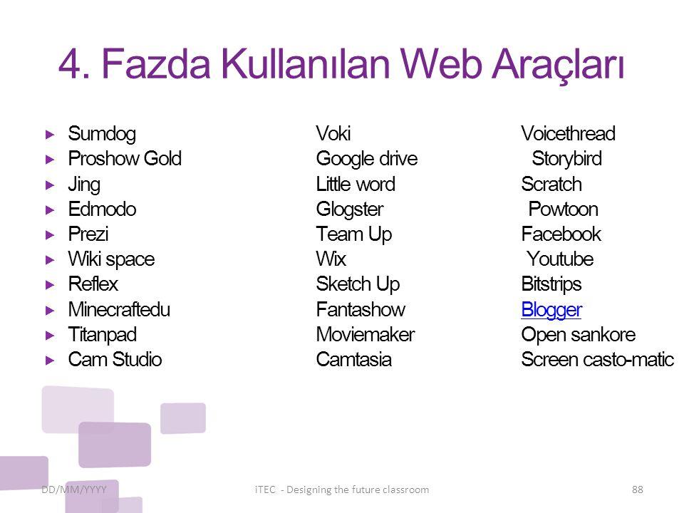 4. Fazda Kullanılan Web Araçları