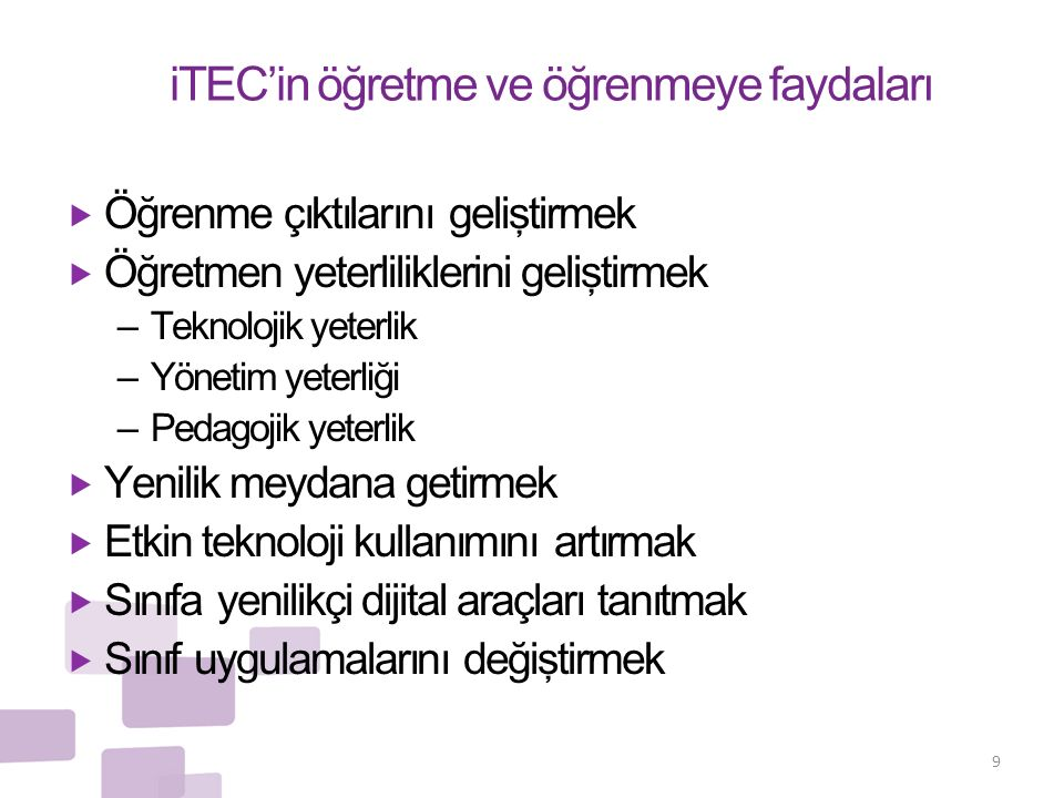 iTEC'in öğretme ve öğrenmeye faydaları