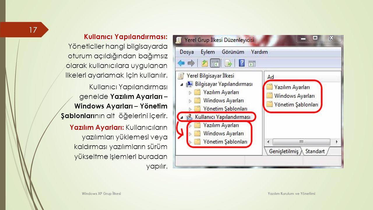 Kullanıcı Yapılandırması: Yöneticiler hangi bilgisayarda oturum açıldığından bağımsız olarak kullanıcılara uygulanan ilkeleri ayarlamak için kullanılır.