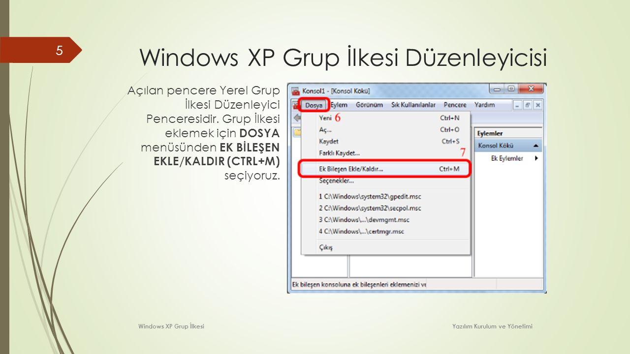 Windows XP Grup İlkesi Düzenleyicisi
