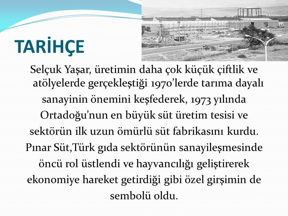 TARİHÇE Selçuk Yaşar, üretimin daha çok küçük çiftlik ve atölyelerde gerçekleştiği 1970'lerde tarıma dayalı.