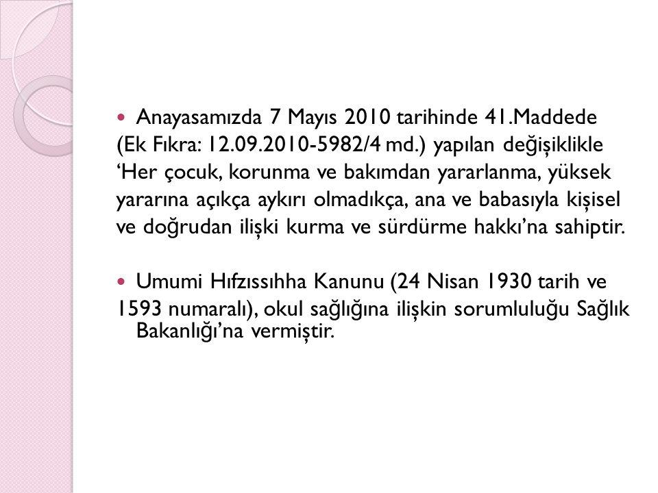Anayasamızda 7 Mayıs 2010 tarihinde 41.Maddede