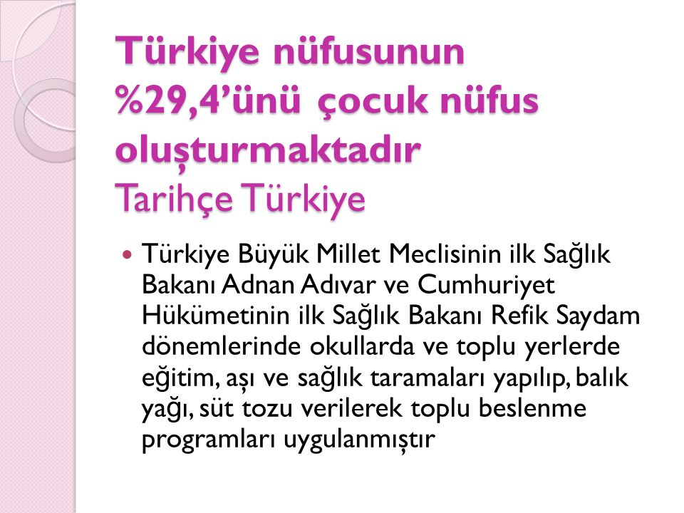 Türkiye nüfusunun %29,4'ünü çocuk nüfus oluşturmaktadır Tarihçe Türkiye