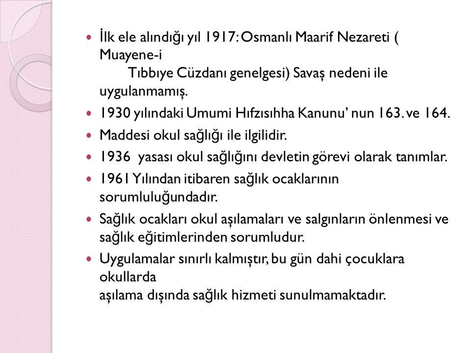 İlk ele alındığı yıl 1917: Osmanlı Maarif Nezareti ( Muayene-i