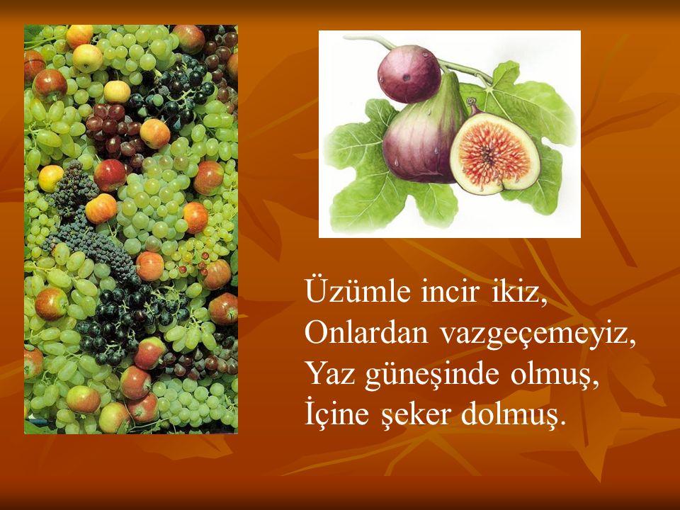 Üzümle incir ikiz, Onlardan vazgeçemeyiz, Yaz güneşinde olmuş, İçine şeker dolmuş.
