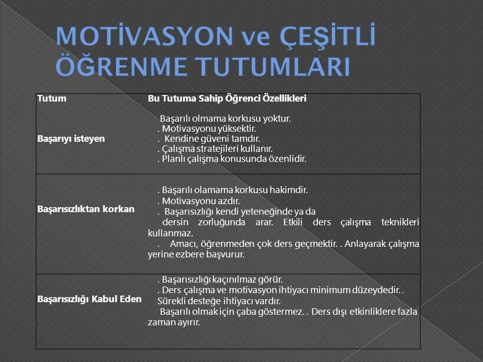 MOTİVASYON ve ÇEŞİTLİ ÖĞRENME TUTUMLARI