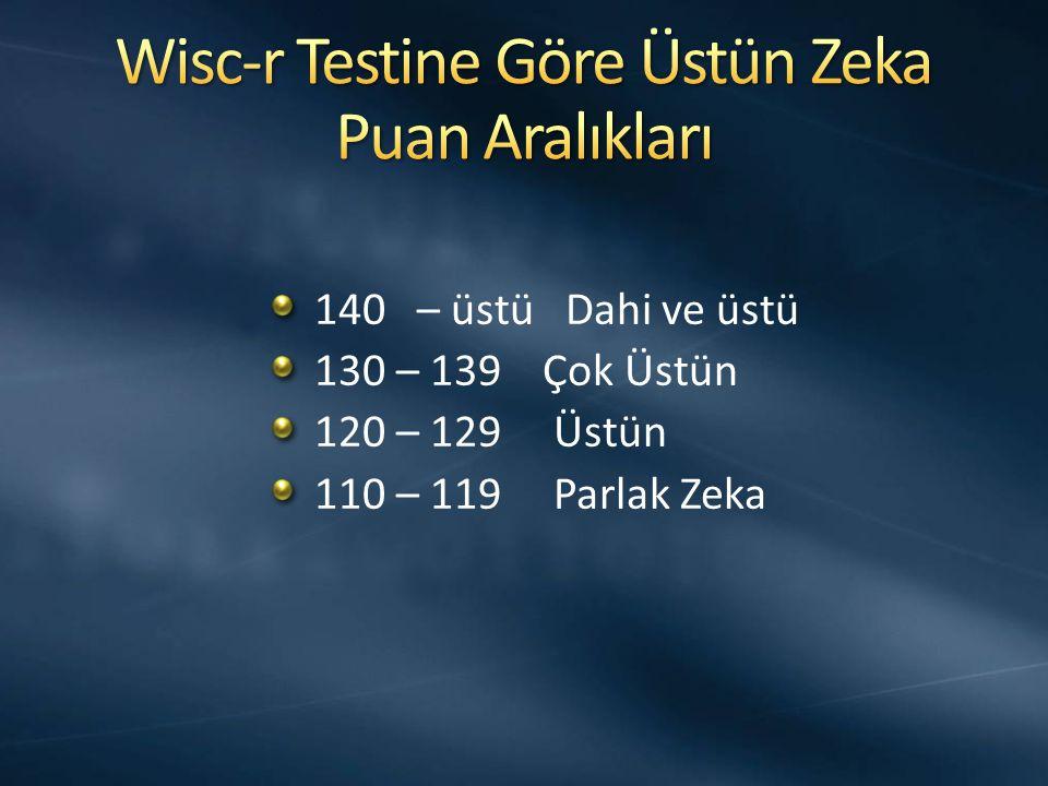 Wisc-r Testine Göre Üstün Zeka Puan Aralıkları