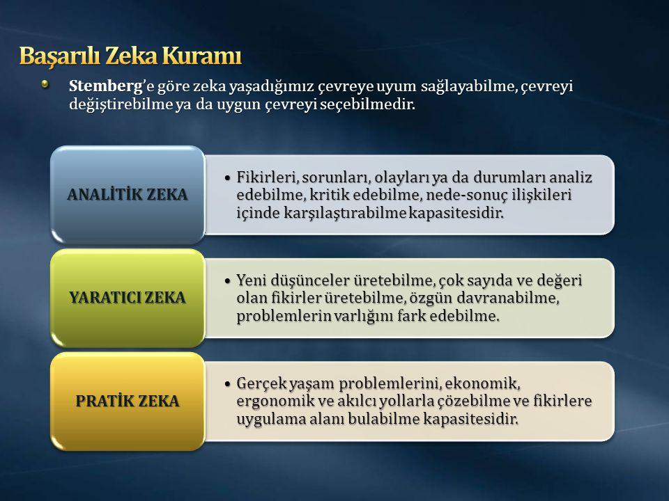 Başarılı Zeka Kuramı Stemberg'e göre zeka yaşadığımız çevreye uyum sağlayabilme, çevreyi değiştirebilme ya da uygun çevreyi seçebilmedir.