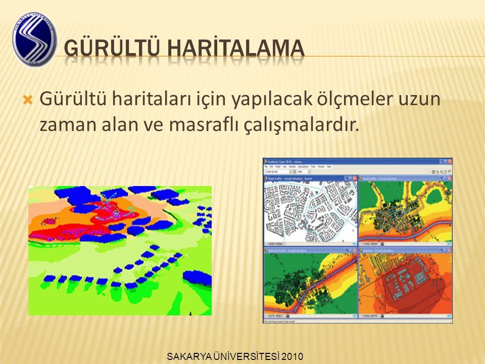 GÜRÜLTÜ HARİTALAMA Gürültü haritaları için yapılacak ölçmeler uzun zaman alan ve masraflı çalışmalardır.