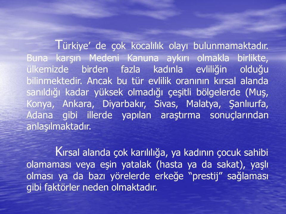 Türkiye' de çok kocalılık olayı bulunmamaktadır
