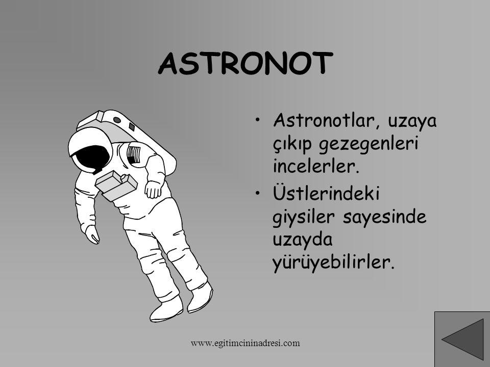 ASTRONOT Astronotlar, uzaya çıkıp gezegenleri incelerler.