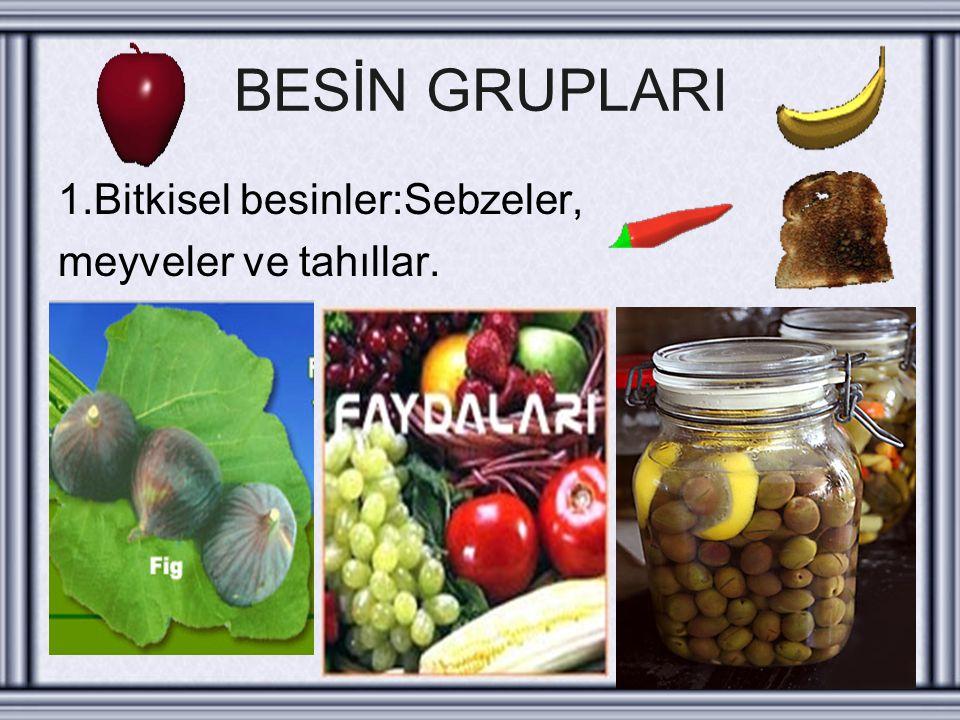 BESİN GRUPLARI 1.Bitkisel besinler:Sebzeler, meyveler ve tahıllar.