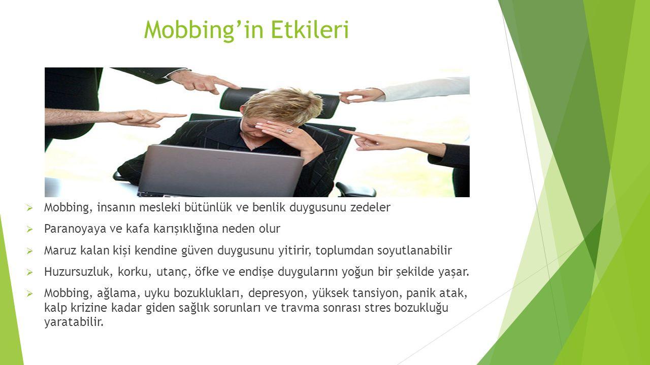 Mobbing'in Etkileri Mobbing, insanın mesleki bütünlük ve benlik duygusunu zedeler. Paranoyaya ve kafa karışıklığına neden olur.