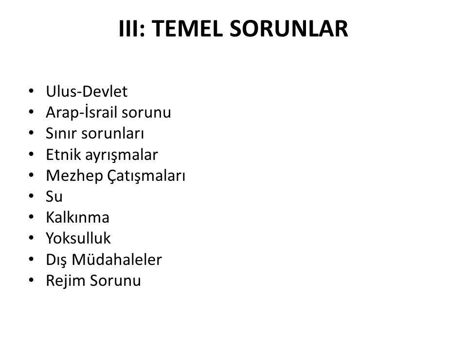 III: TEMEL SORUNLAR Ulus-Devlet Arap-İsrail sorunu Sınır sorunları