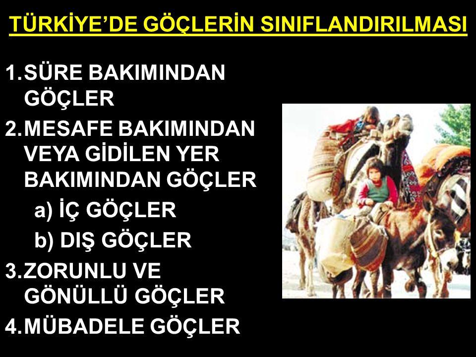 TÜRKİYE'DE GÖÇLERİN SINIFLANDIRILMASI