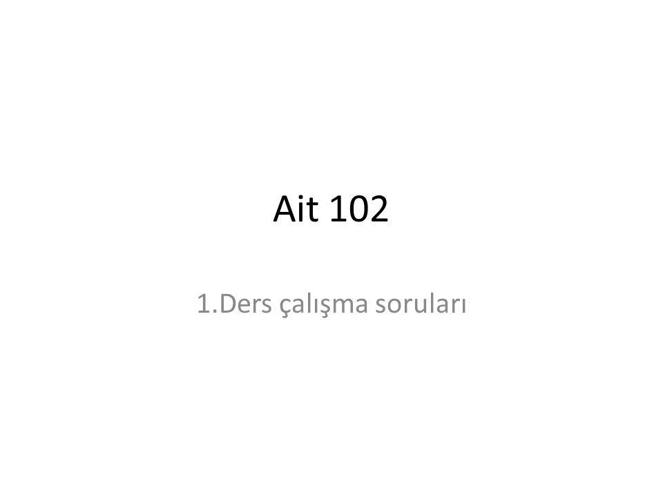 Ait 102 1.Ders çalışma soruları