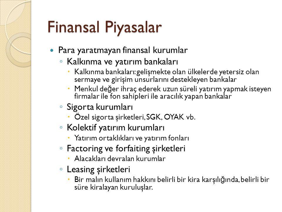 Finansal Piyasalar Para yaratmayan finansal kurumlar