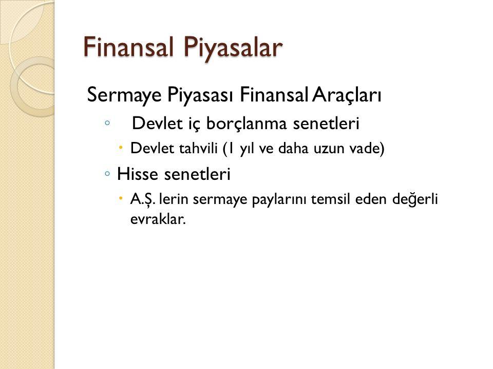 Finansal Piyasalar Sermaye Piyasası Finansal Araçları