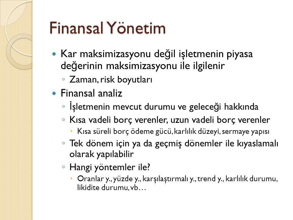 Finansal Yönetim Kar maksimizasyonu değil işletmenin piyasa değerinin maksimizasyonu ile ilgilenir.
