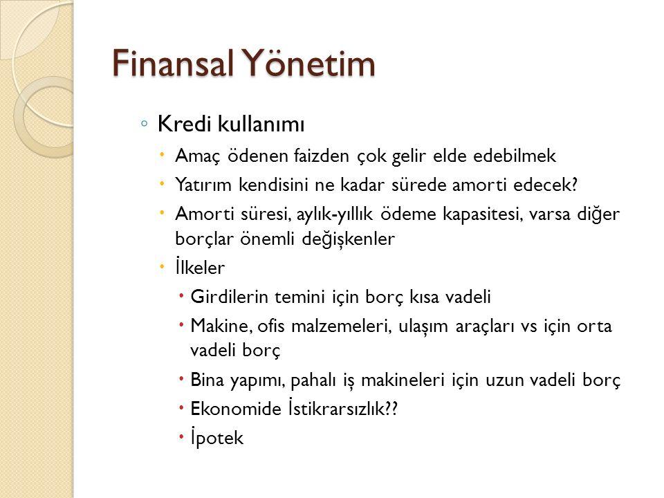 Finansal Yönetim Kredi kullanımı