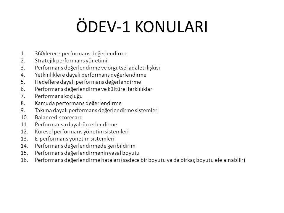ÖDEV-1 KONULARI 360derece performans değerlendirme