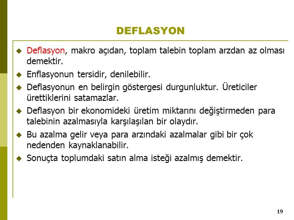 DEFLASYON Deflasyon, makro açıdan, toplam talebin toplam arzdan az olması demektir. Enflasyonun tersidir, denilebilir.