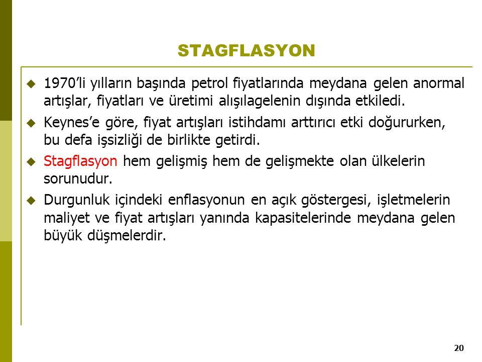 STAGFLASYON 1970'li yılların başında petrol fiyatlarında meydana gelen anormal artışlar, fiyatları ve üretimi alışılagelenin dışında etkiledi.