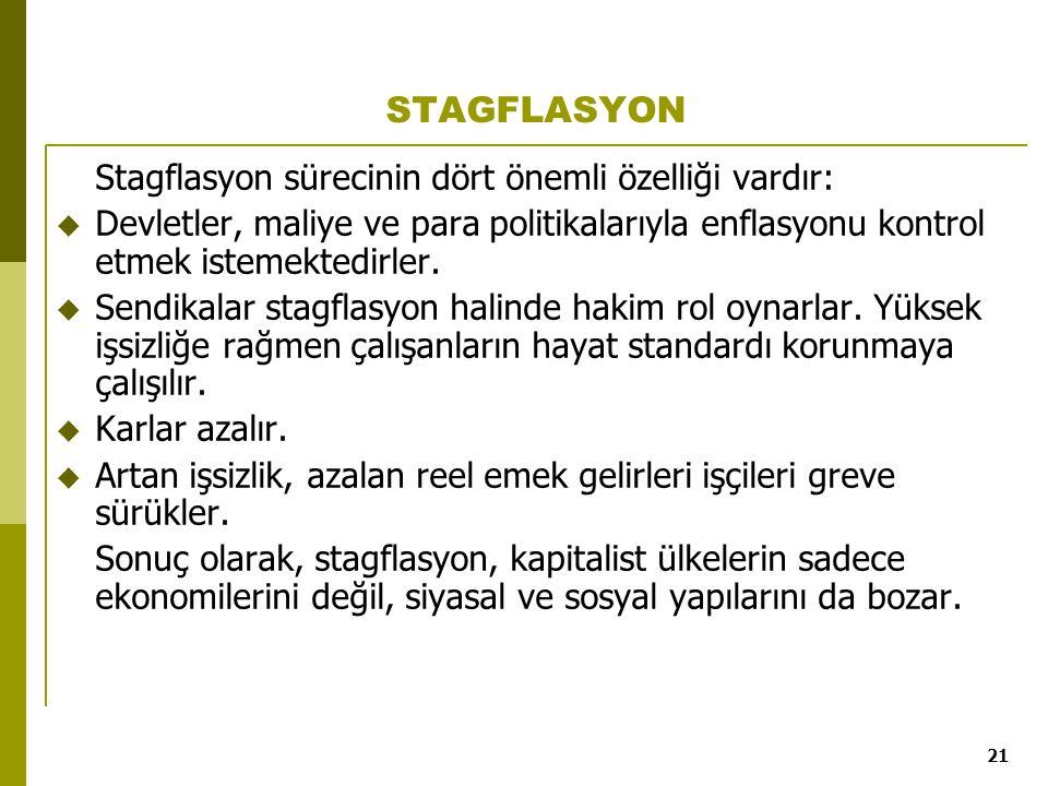 STAGFLASYON Stagflasyon sürecinin dört önemli özelliği vardır: Devletler, maliye ve para politikalarıyla enflasyonu kontrol etmek istemektedirler.