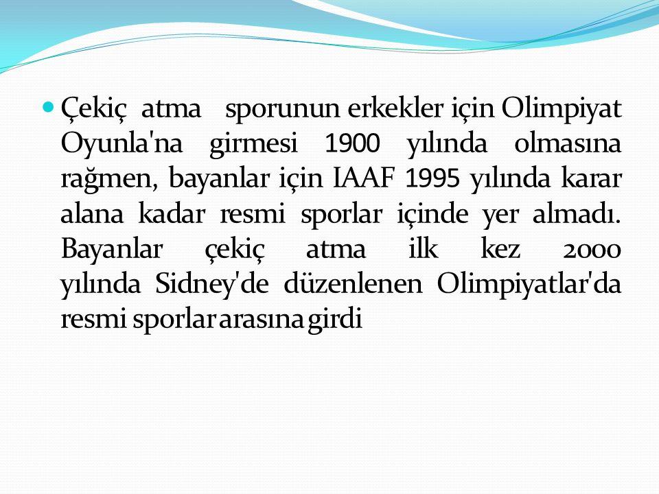 Çekiç atma sporunun erkekler için Olimpiyat Oyunla na girmesi 1900 yılında olmasına rağmen, bayanlar için IAAF 1995 yılında karar alana kadar resmi sporlar içinde yer almadı.