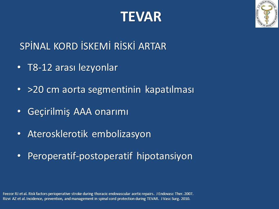 TEVAR SPİNAL KORD İSKEMİ RİSKİ ARTAR T8-12 arası lezyonlar