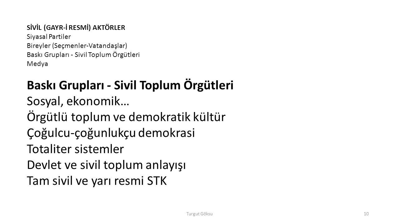 Örgütlü toplum ve demokratik kültür Çoğulcu-çoğunlukçu demokrasi