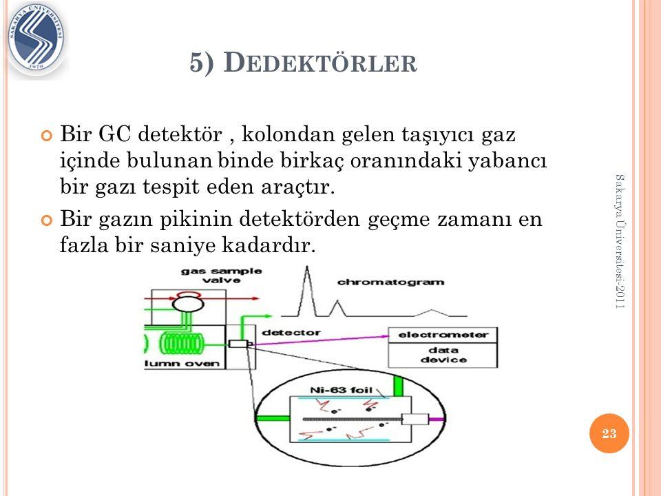 5) Dedektörler Bir GC detektör , kolondan gelen taşıyıcı gaz içinde bulunan binde birkaç oranındaki yabancı bir gazı tespit eden araçtır.