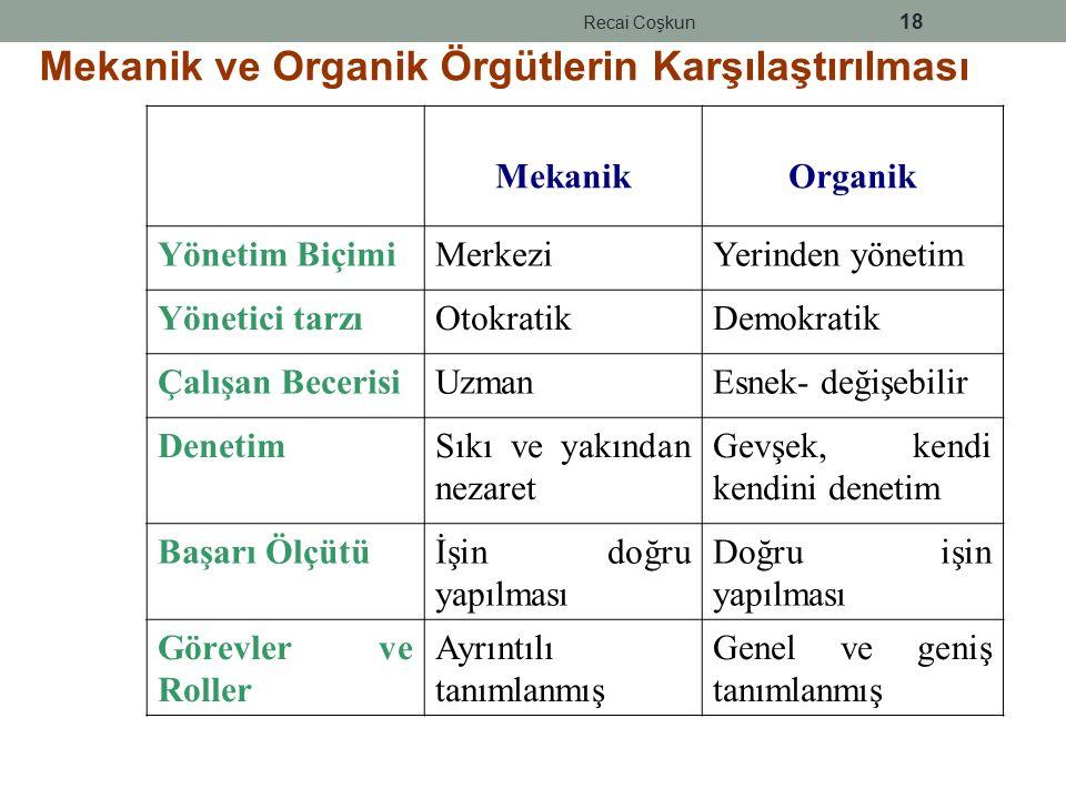 Mekanik ve Organik Örgütlerin Karşılaştırılması