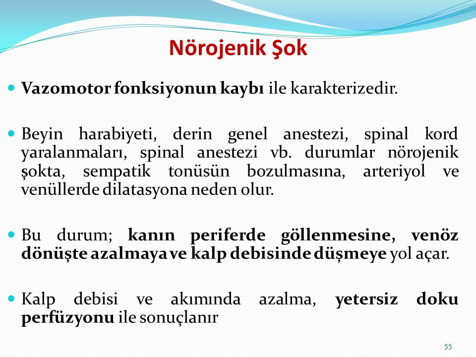 Nörojenik Şok Vazomotor fonksiyonun kaybı ile karakterizedir.