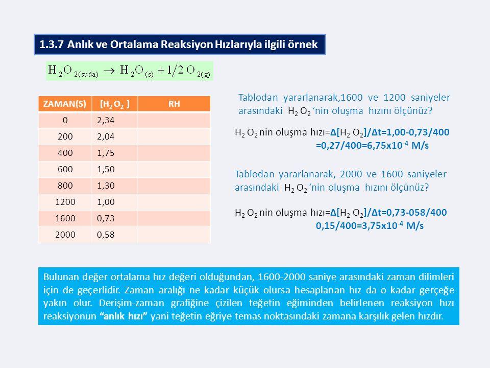 1.3.7 Anlık ve Ortalama Reaksiyon Hızlarıyla ilgili örnek