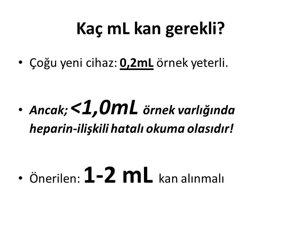 Kaç mL kan gerekli Çoğu yeni cihaz: 0,2mL örnek yeterli.
