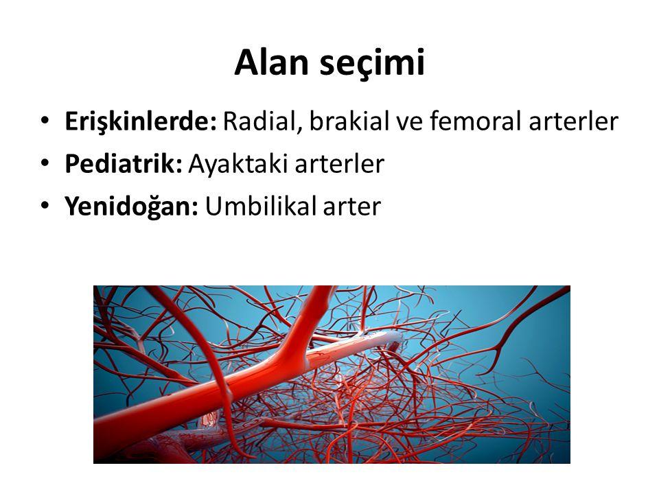 Alan seçimi Erişkinlerde: Radial, brakial ve femoral arterler