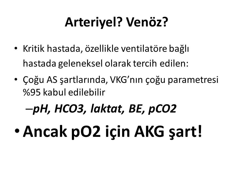 Ancak pO2 için AKG şart! Arteriyel Venöz pH, HCO3, laktat, BE, pCO2
