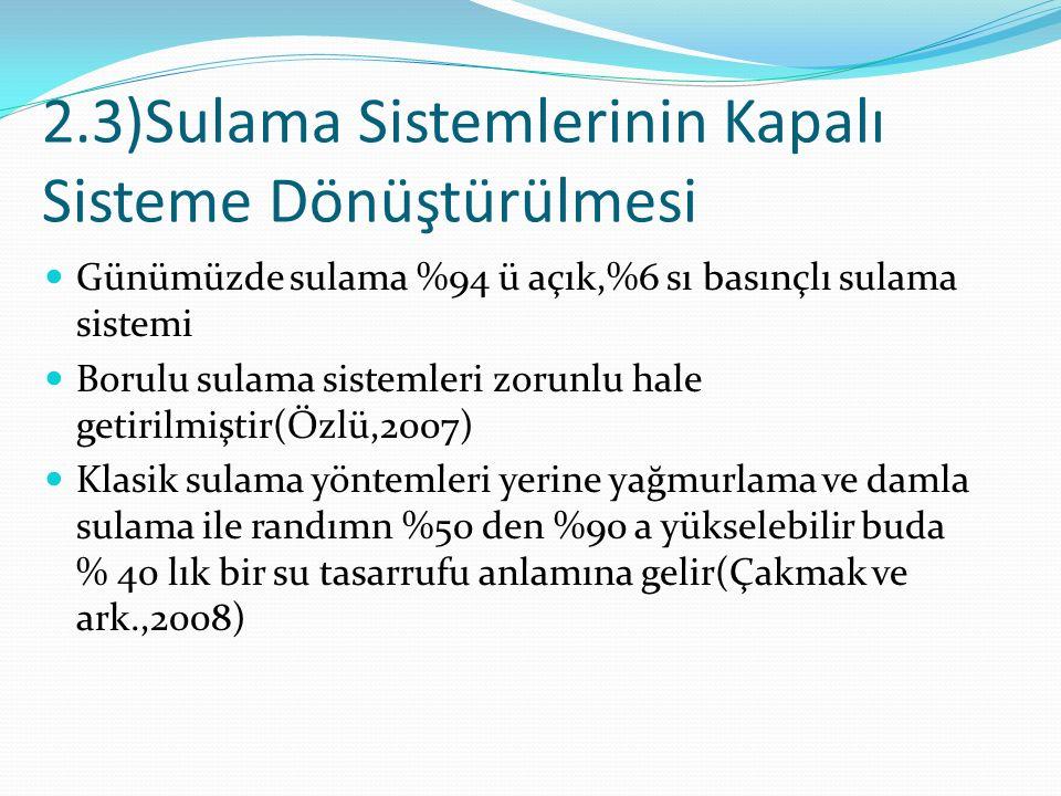 2.3)Sulama Sistemlerinin Kapalı Sisteme Dönüştürülmesi