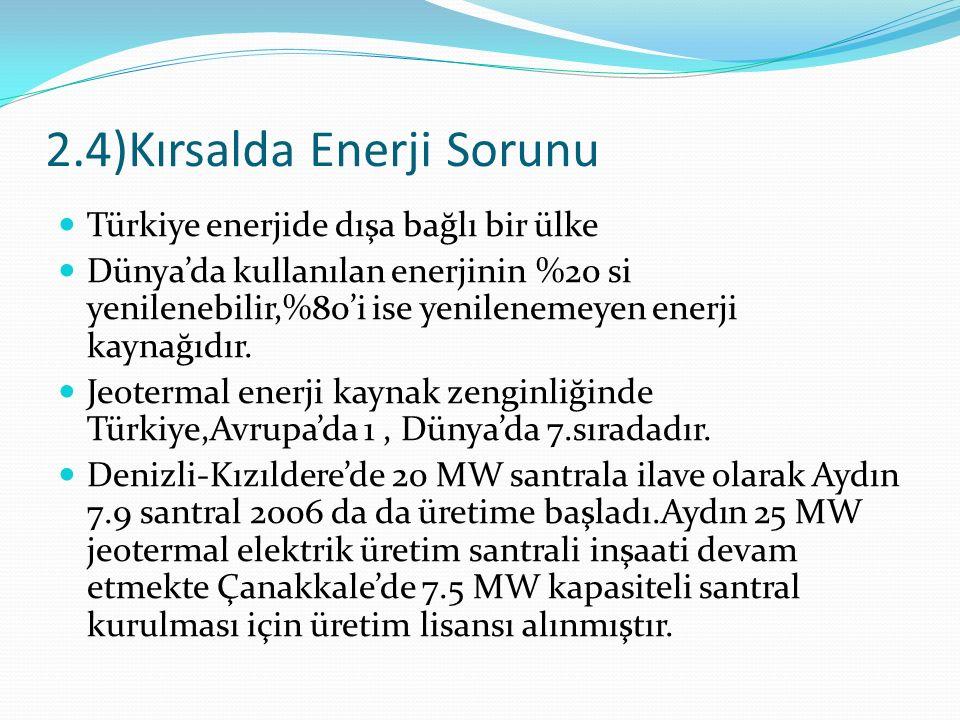 2.4)Kırsalda Enerji Sorunu