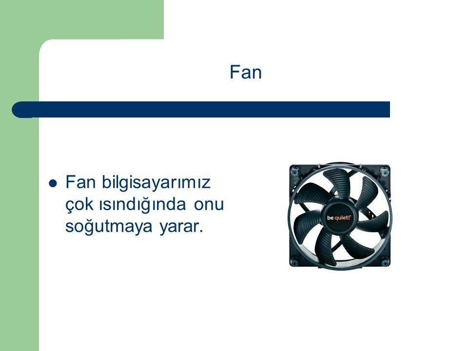 Fan bilgisayarımız çok ısındığında onu soğutmaya yarar.