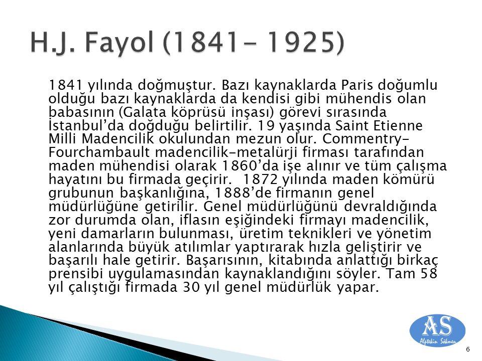 H.J. Fayol (1841- 1925)