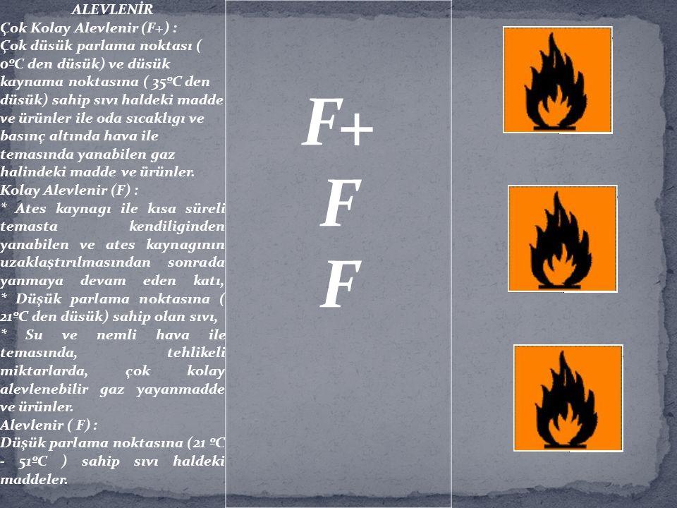 F+ F ALEVLENİR Çok Kolay Alevlenir (F+) :